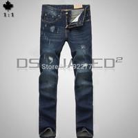 28-36#KPDSQ868,2014 Fashion Famous Brand D2 Jeans Men,High Quality Ripped Jeans For Men,Dark Color Cotton Denim True Jeans Men