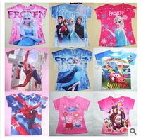 2014 Summer Design Retail Kids Tops Cartoon Short Sleeves T shirt Children Girls Boys t shirt /Children's T-Shirts/kids t shirt