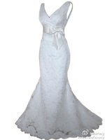 2014 FairOnly New Custom White/ivory Sexy Mermaid V Neck Lace Backless Sash Bow Court Train Wedding Dresses Bridal Gowns
