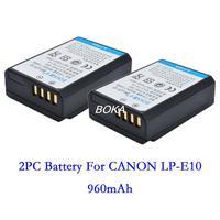 2PC 7.4V 960mAh LP-E10 LPE10 rechargeable Battery LP E10 Camera batteries for Canon EOS 1100D 1200D EOS1100D EOS1200D