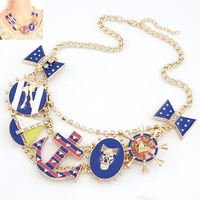 Hot Sell 2014 New Fashion Good Quality Jewelry Blue The Ship Bow Metal Statement Necklace For Woman Necklaces & Pendants CJ83