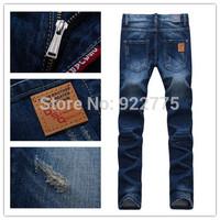 28-36#KPDSQ701,2014 Fashion Famous Brand D2 Jeans Men,High Quality Ripped Jeans For Men,Dark Color Cotton Denim True Jeans Men