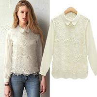 [R-338] Free shipping  2014 spring new chiffon lace blouses wild women doll collar lace chiffon long-sleeved shirt