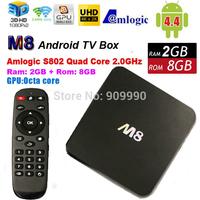 NEW M8 Amlogic S802 TV Box Quad Octa Core Cortex-A9 XBMC Android 4.4 4K KitKat HDMI 2.4G/5G Dual Mali-450 WiFi Media Player