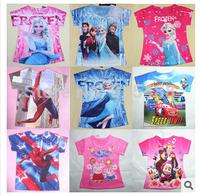 FreeShipping 2014 Retail Kids Tops Cartoon Short Sleeves T shirt Children Girls Boys t shirt /Children's T-Shirts/Child Tops Tee
