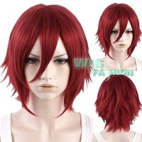 """12"""" Heat Resistant Short Straight Red Anime Cosplay Hair Wig Natural Kanekalon no Lace Front hair wigs Free deliver"""