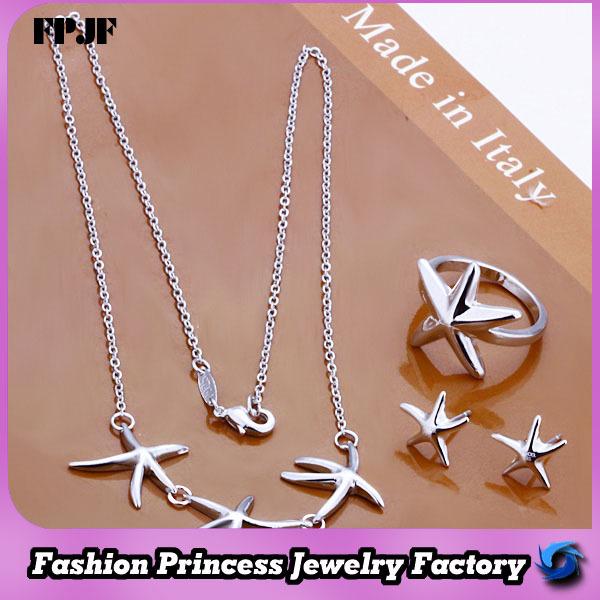 MS174 Wholesale silver-electroplated starfish hot sale set, kids jewellery(China (Mainland))