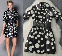 New arrival 2014 women's black and white polka dot print trench fifth sleeve belt medium-long trench