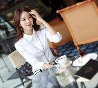 [R-344] 2014 new women OL shirt  Korean version of the blouse shirt shirt hot drilling long-sleeved white shirt female