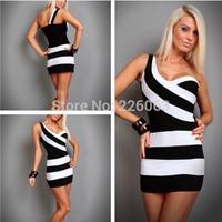 New Arrival Fashion Women Sexy Zebra Striped Printed One Shoulder Sleeveless Bodycon Party Club Mini Dress casual dresses