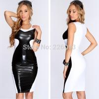 2014 New Fashion Women Bandage Dress Elegant Ladies Pu Leather Sleeveless Sexy Party Bodycon Women's V-Neck Clubwear Mini Dress