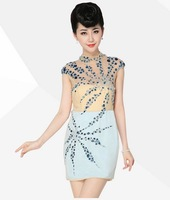 2014 Free shipping fashion beaded short sheather thinner formal silk party dresses sexy women evening dress CXWC-8875