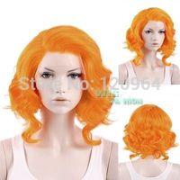 "11"" Short Orange Wavy Lace Front Wig Heat Resistant Natural Kanekalon hair wigs Free deliver"