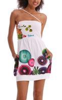 2014 Summer Women Dress Casual Print Geometric White Dress Sexy Colorful Vintage Party Floral Dress Bohemian Lady Dress DG006