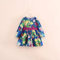 2014 autumn fashion hots sale children girl long sleeve flower dress with belt