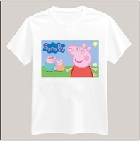 9 Colors Peppa Pig Printed Tshirt For Women Men Short Sleeve Unisex Cotton Casual White Shirt Top Tee XXXL Big Size ZY055-08