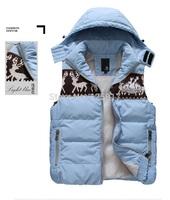 Christmas Deer Printing Hooded Vest! Removeable Hood Men's Fashion Vest! Big Size XXXL Men Winter Sleeveless Vest Coat
