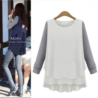 Star models in Europe and America 2014 new fall fashion long-sleeved chiffon blouse stitching color t-shirt