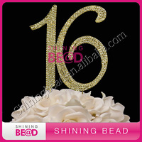 free shipping,golden number 16 rhinestone cake topper, hot sale number cake topper for birthday party