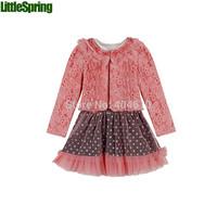 2 colors Two-piece suit girls lace cardigan jacket + hot drilling dot mesh gauze dress suit girls 2pcs clothing sets ELZ-T0325