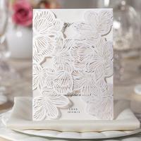 Free Shipping 50pcs/Lot  White  Elegent Royal  Lace  Wedding Invitations Laser Cut Lace Wedding Decoration