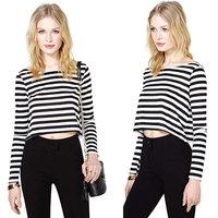 2015 Hot Spring Women  T-Shirt Stripe Crew Neck Long Sleeve Short Crop Top Black & White XL L M