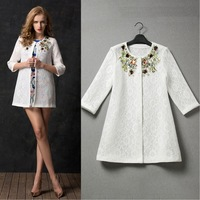 New arrival 2014 women's white lace outerwear trench coat with crystal