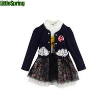 3 colors Two-piece suit girls Corsage Lace bow cardigan jacket + big flower gauze lace dress suit girls 2pcs  sets   ELZ-T0328