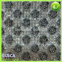 2014 New beautiful Silver-grey Roses mesh rhinestone sheet