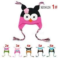 Baby Handmade crochet Hat childrens handmade owl beanie Knitted hat New Toddler Owl EarFlap Crochet Hat cap
