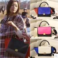 Free Shipping Genuine Leather Women Handbag Ladies Luxury Tote Shoulder Bags Famous Brand Trapeze Bat Bags 25*20*10 cm