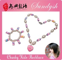 Lovely Fashion Kids Bubblgum Candy Heart Pendant Charms Necklace and Bracelce Kids Jewelry Sets
