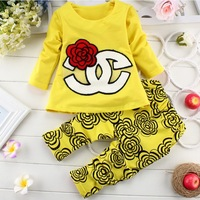 [ New Order ] children suit fast peony flower girls two-piece suits long sleeve + pants wholesale children