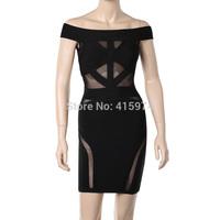 Promotions 2014 New Style Black Gauze Lace Sleeveless Sexy Bandage Dress Cocktail & Party Dress Birthday Gift Dresses
