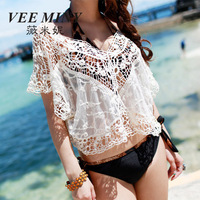 Hot Sale Women's Sexy Lace Floral Crochet Blouse 2014 summer Batwing Sleeve Loose Hollow Out Top