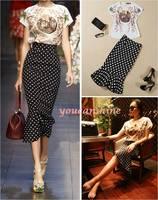 1pc Sexy Fashion Model Show Womens Polka Dot High Waist Career OL Dress Mermaid Pencil Skirt Flower Blouse Set