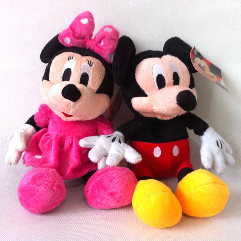 2014 neue heiße 30cm 2pcs/lot schöne mickey mouse und minnie stofftier mädchen puppe plüsch spielzeug für kinder geschenk baby spielzeug