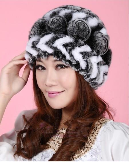 Elegant women winter rex rabbit fur cap lady rose flowers knit fur hat Free shipping TPHR0002(China (Mainland))