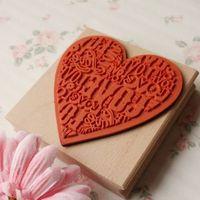 (9*9 CM) Big Size DIY Scrapbooking Love Heart Alphabet Stamps Vintage Wood Rubber Ink Pad Stamp Wax Seal Stamp