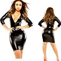 2014 New Style Deep V Neck Dress Faux Leather Clubwear Black Latex Costume PVC Mini Party Dress Fetishwear Free Drop Shipping