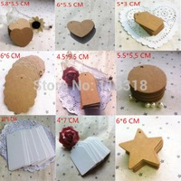 (1 Lot=100 Pcs) 24 Different Styles DIY Scrapbooking Paper Kraft Blank Hang Tags Crafts Wedding Postcards Gift Tag Label Card