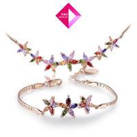 2014 fashion Austrian crystal rose gold diamond flower suit,wedding jewelry