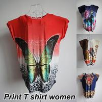 New 2014 Long Style Fashion Casual Clothing Plus Size Desigual Summer Print T Shirt Women