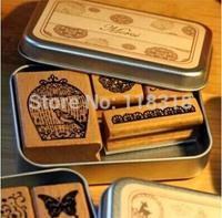 (6 Styles can choose) DIY Scrapbooking Stamps Vintage Wooden Rubber Ink Pad Stamp Iron Box Sealing Stamp Set