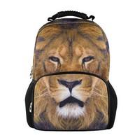 Free Shipping 2014 student animal school backpacks, best selling lion Printing the school knapsack,men travel  bag  B44