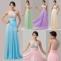 Grace Karin Elegant Floor Length Long Pink Evening Dress Chiffon + Satin + Tulle Prom Gowns 2014 CL6110