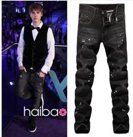 2014 Men Fashion Brand Slim Straight Ripped Jeans Painted Black Vintage Denim Long Pants Plus Size New Style 28~36
