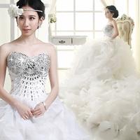 Wedding dress tube top train deluxe edition fashion luxury rhinestone bandage wedding dress train