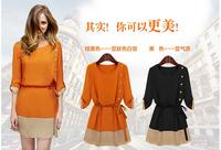 Ypzf2014 autumn fashion plus size clothing chiffon loose 7 medium-long one-piece dress o-neck a-line skirt