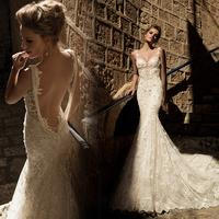 Fashion wedding dress 2014 fish tail big train racerback lace sexy bride wedding dress female white